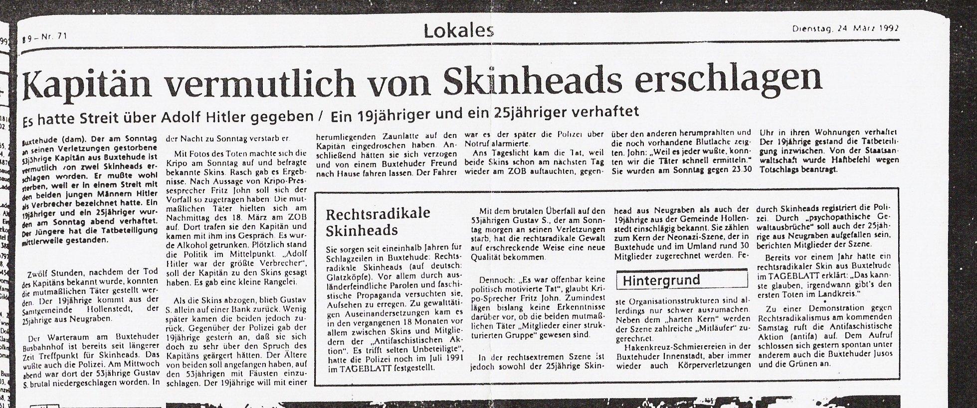 Tageblatt 24.03.1992